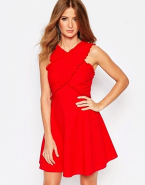 photo Mini Dress with Wrap Front Detail in Broderie Anglaise by Millie Mackintosh, color Red - Image 1