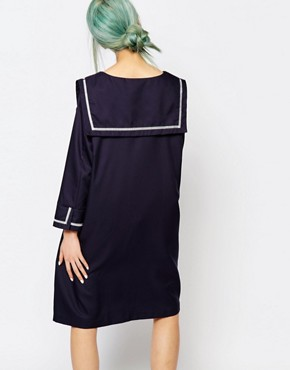 photo Dress with Sailor Girl Collar by Zacro, color Navy - Image 2