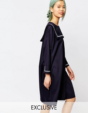 photo Dress with Sailor Girl Collar by Zacro, color Navy - Image 1