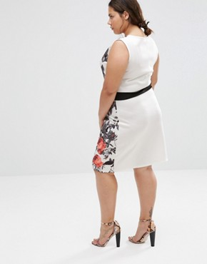 photo Illusion Pencil Dress with Floral Panels by Praslin Plus, color White - Image 2