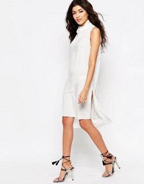 photo Cowl Neck Shift Dress with Cut Out Back by Never Fully Dressed, color White - Image 2