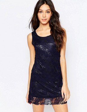 photo Lace Overlay Shift Dress by Mela Loves London, color Navy - Image 1