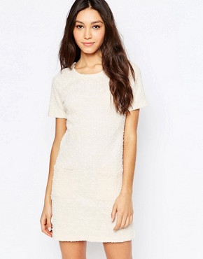 photo Textured Sequin and Pocket Dress by Mela Loves London, color Cream - Image 1