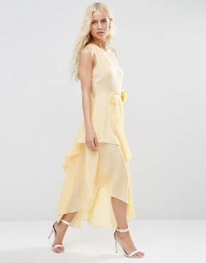 photo One Shoulder Layered Midi Dress with Corsage by ASOS, color Cream - Image 2