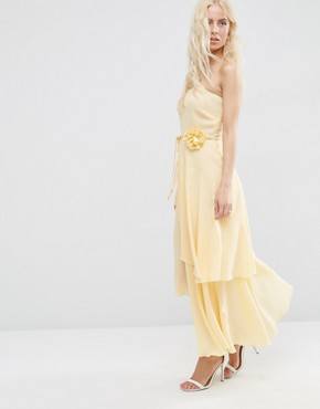 photo One Shoulder Layered Midi Dress with Corsage by ASOS, color Cream - Image 1