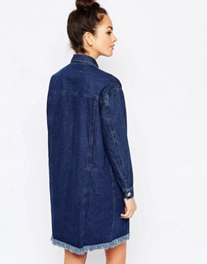 photo Long Fray Denim Jacket Style Dress by The WhitePepper, color Blue - Image 2
