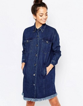 photo Long Fray Denim Jacket Style Dress by The WhitePepper, color Blue - Image 1
