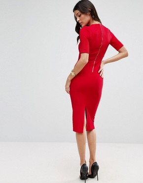 photo Seamed Structured Rib Bodycon Dress by ASOS, color Red - Image 2