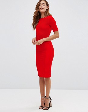 photo Seamed Structured Rib Bodycon Dress by ASOS, color Red - Image 1