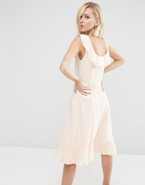 photo Midi Skater Dress with Frill Detail by ASOS, color Blush - Image 2