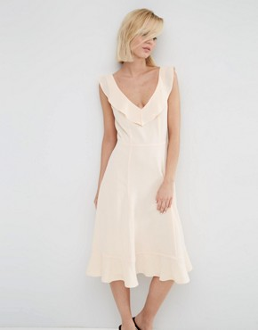 photo Midi Skater Dress with Frill Detail by ASOS, color Blush - Image 1
