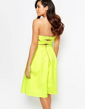 photo Rainbow Drop Midi Prom Dress by Lashes of London, color Neon Lime - Image 2