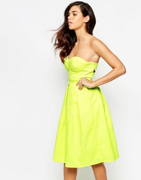 photo Rainbow Drop Midi Prom Dress by Lashes of London, color Neon Lime - Image 1