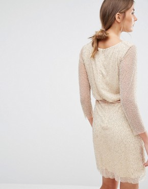 photo Shay Long Sleeve Beaded Dress with Sheer Panel by Walter Baker, color Nude/Silver - Image 2