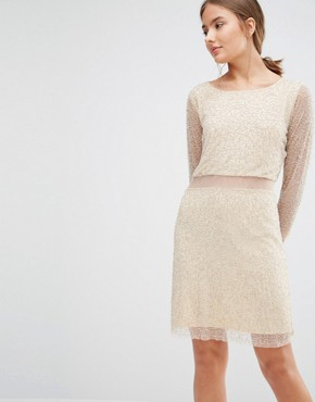 photo Shay Long Sleeve Beaded Dress with Sheer Panel by Walter Baker, color Nude/Silver - Image 1