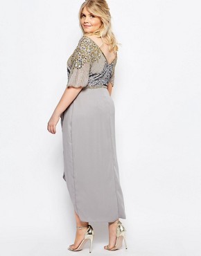photo Laila Embellished Midi Dress with Thigh Split by Virgos Lounge Plus, color Grey - Image 2