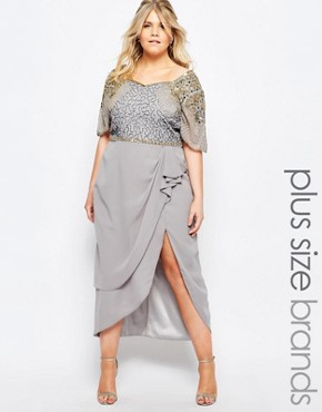 photo Laila Embellished Midi Dress with Thigh Split by Virgos Lounge Plus, color Grey - Image 1