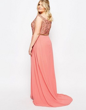 photo Juliana Embellished Bardot Maxi Dress by Virgos Lounge Plus, color Pink - Image 2