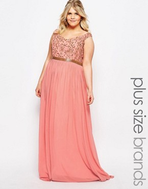 photo Juliana Embellished Bardot Maxi Dress by Virgos Lounge Plus, color Pink - Image 1