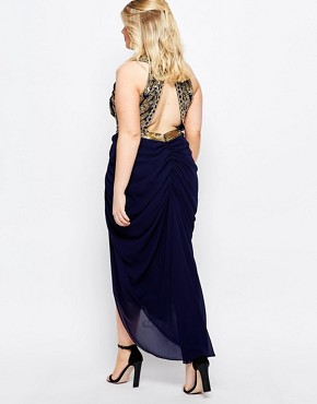 photo Genevieve Maxi Dress by Virgos Lounge Plus, color Navy - Image 2