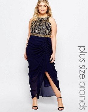 photo Genevieve Maxi Dress by Virgos Lounge Plus, color Navy - Image 1