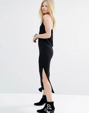 photo T Bar Back Maxi Dress with Side Split by Vero Moda Petite, color Black - Image 2