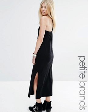 photo T Bar Back Maxi Dress with Side Split by Vero Moda Petite, color Black - Image 1
