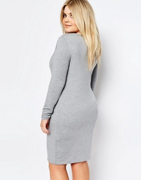 photo Long Sleeve Bodycon Dress by Missguided Plus, color Grey - Image 2