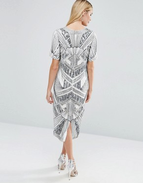 photo Iridescent Midi T-Shirt Dress by ASOS RED CARPET, color Grey - Image 2