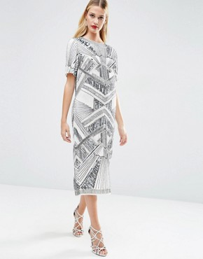 photo Iridescent Midi T-Shirt Dress by ASOS RED CARPET, color Grey - Image 1
