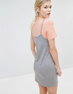 photo 2-in-1 Contrast T-Shirt Dress by One Day Petite, color Grey Marl - Image 2