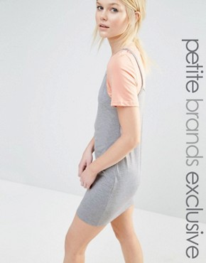 photo 2-in-1 Contrast T-Shirt Dress by One Day Petite, color Grey Marl - Image 1