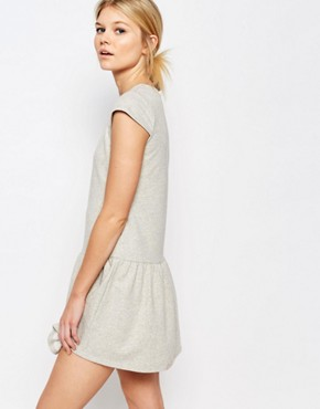 photo Peplum Hem Sweat Dress by One Day Petite, color Grey Marl - Image 2