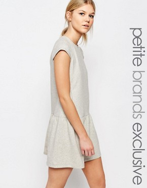 photo Peplum Hem Sweat Dress by One Day Petite, color Grey Marl - Image 1