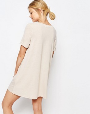 photo Oversize T-Shirt Dress by One Day Petite, color Oatmeal - Image 2