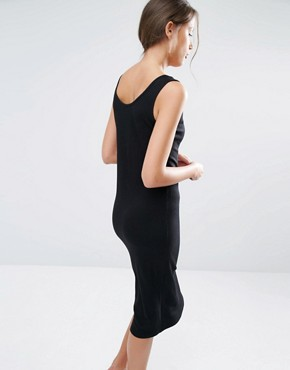 photo Ribbed Midi Vest Dress by One Day Tall, color Black - Image 2