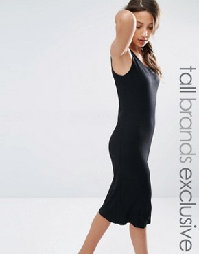 photo Ribbed Midi Vest Dress by One Day Tall, color Black - Image 1