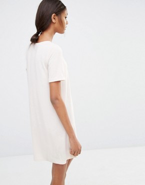 photo Oversize T-Shirt Dress by One Day Tall, color Oatmeal - Image 2