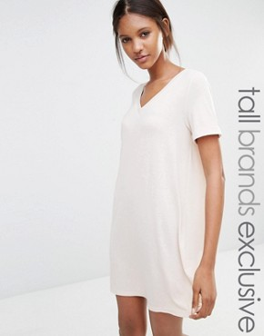 photo Oversize T-Shirt Dress by One Day Tall, color Oatmeal - Image 1