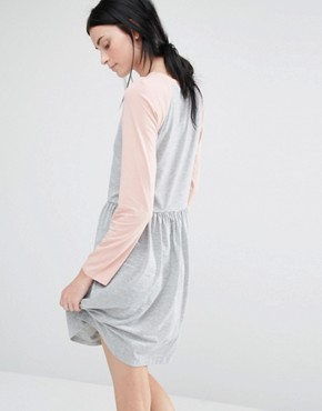 photo Contrast 3/4 Raglan Sleeve Jersey Midi Skater Dress by One Day Tall, color Grey Marl - Image 2