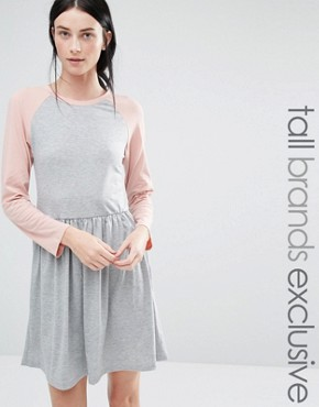 photo Contrast 3/4 Raglan Sleeve Jersey Midi Skater Dress by One Day Tall, color Grey Marl - Image 1
