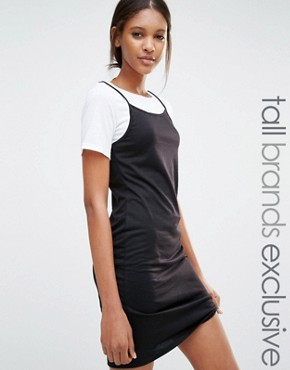photo 2-in-1 Contrast T-Shirt Dress by One Day Tall, color Black - Image 1