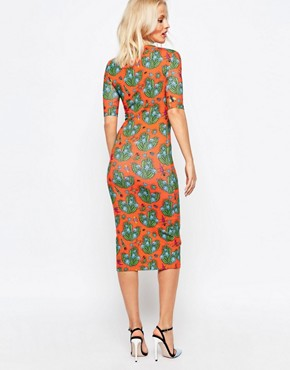 photo Cactus All Over Print Bodycon Midi Dress by House of Holland, color Orange - Image 2