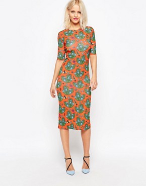 photo Cactus All Over Print Bodycon Midi Dress by House of Holland, color Orange - Image 1