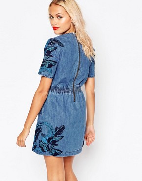 photo Denim Lace Overlay Dress by House of Holland, color Blue - Image 2