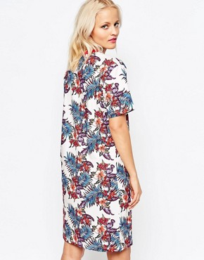 photo Floral Print T-shirt Dress by House of Holland, color Cream Multi - Image 2