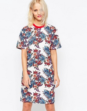 photo Floral Print T-shirt Dress by House of Holland, color Cream Multi - Image 1