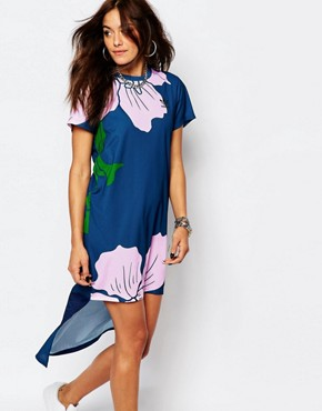 photo High Lo Maxi Dress in Engraved Floral Print by Adidas Originals, color Multi - Image 1