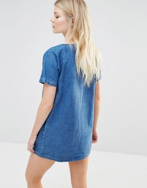 photo Denim Shift Dress with Sequin Pockets by Liquor & Poker Petite, color Blue - Image 2