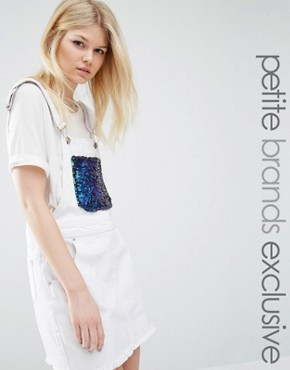 photo Dungaree Style Denim Dress with Multi Sequin Bib by Liquor & Poker Petite, color White - Image 1